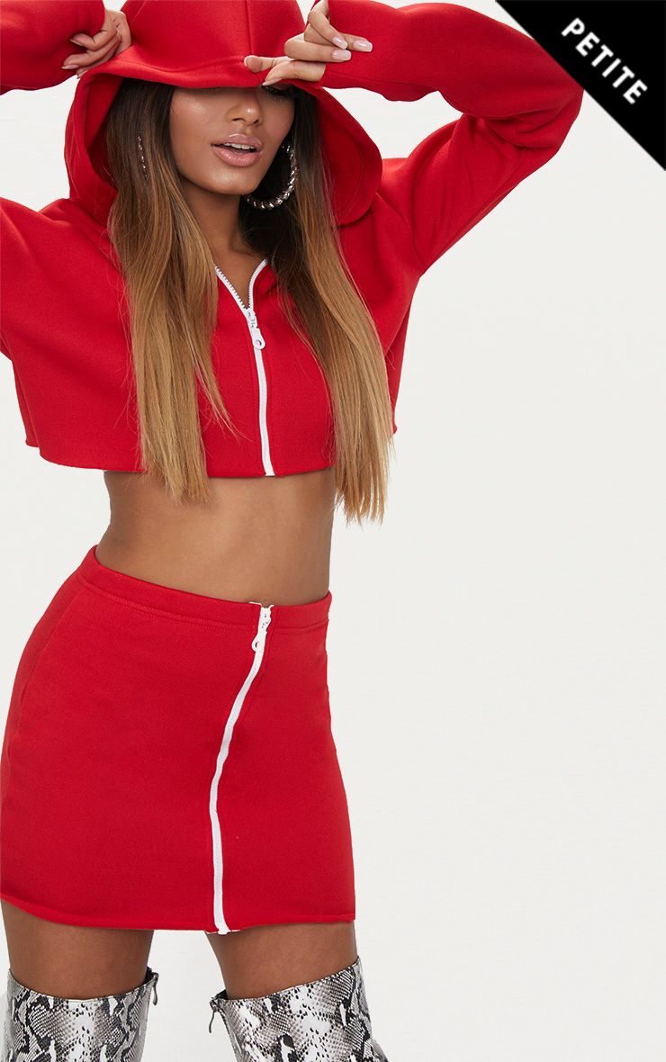 Petite Red Zip Up Bodycon Skirt