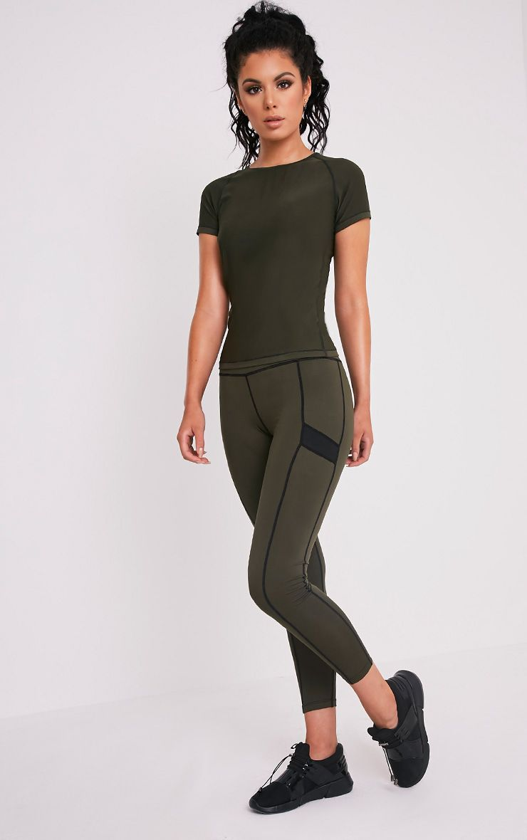 Isadora Khaki  Panelled Gym Leggings 1