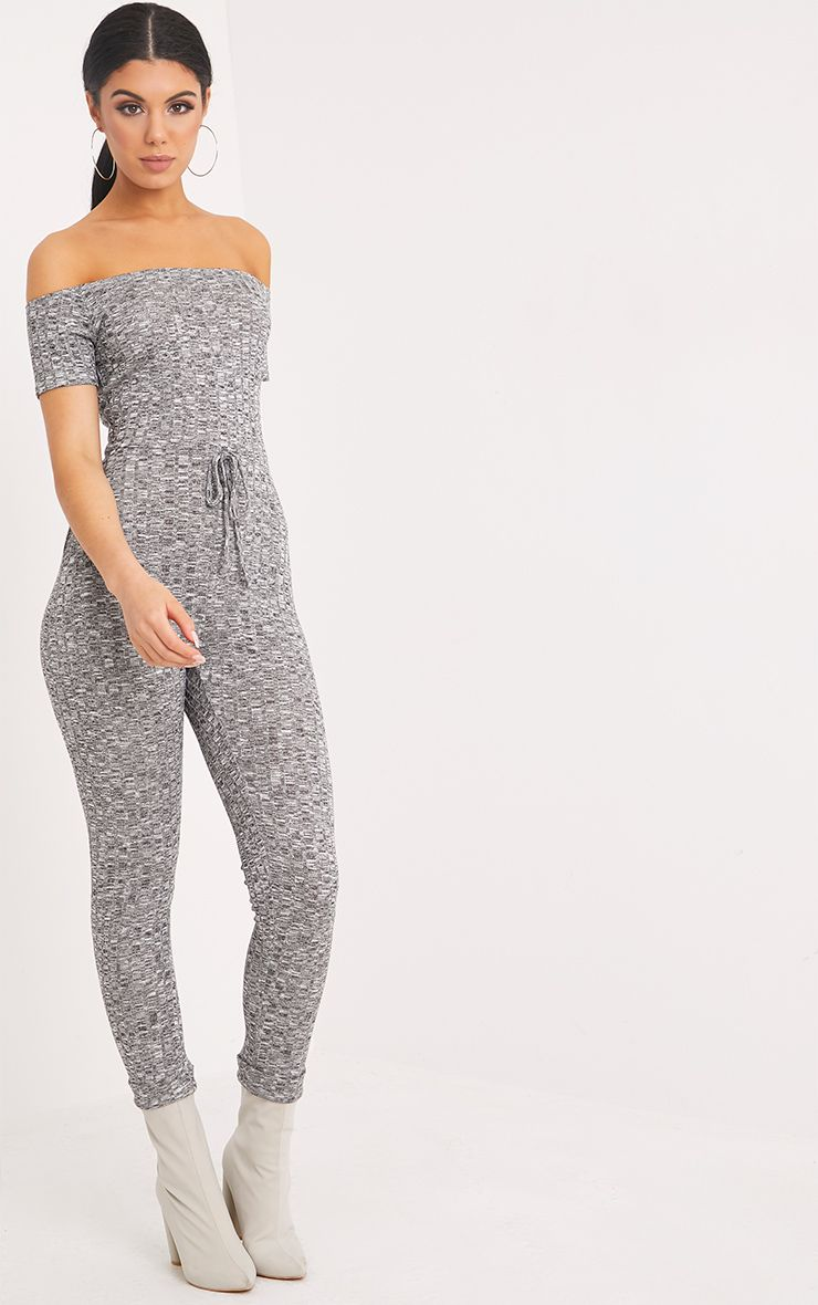 Farrah Grey Bardot Knitted Jumpsuit Pretty Little Thing Cheap Price Factory Outlet dO7VaOptbP