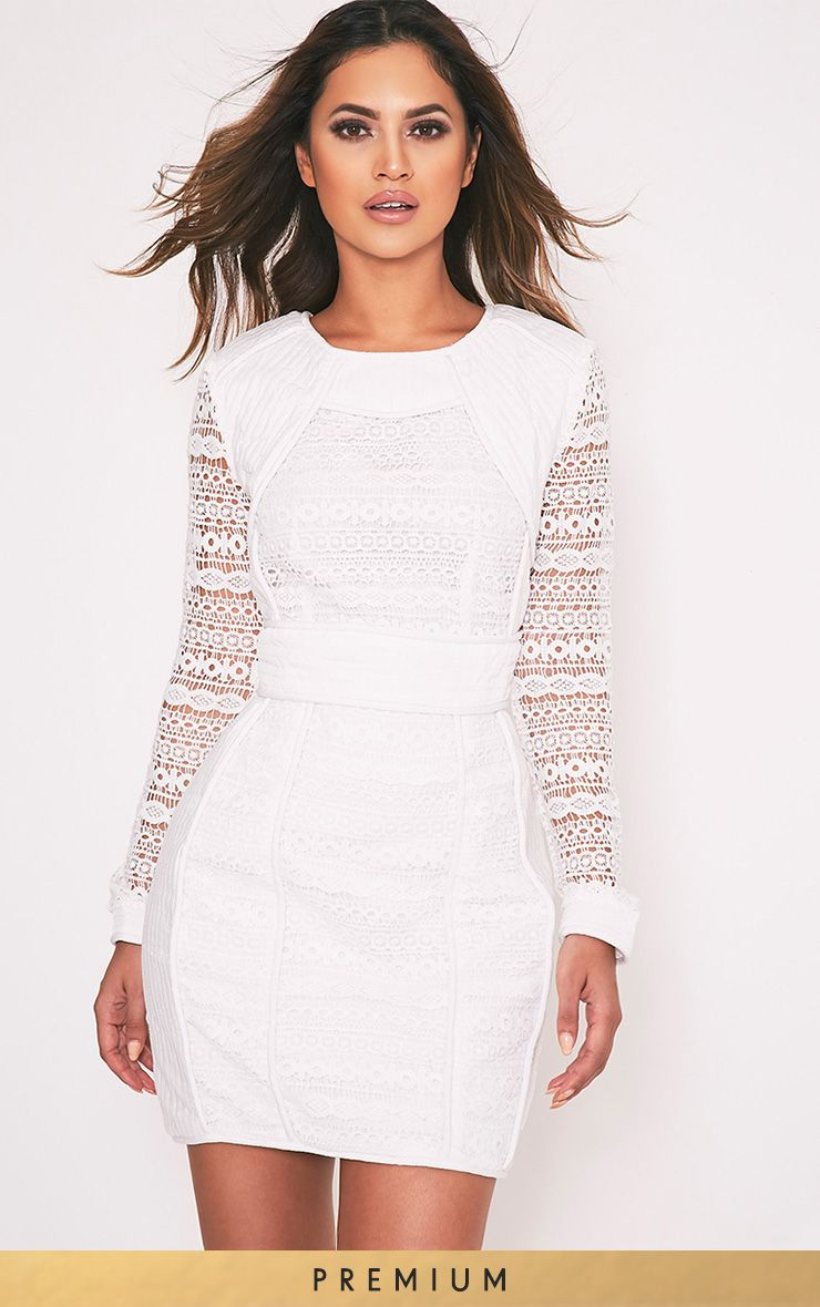 Cataleena White Lace Panel Bodycon Dress