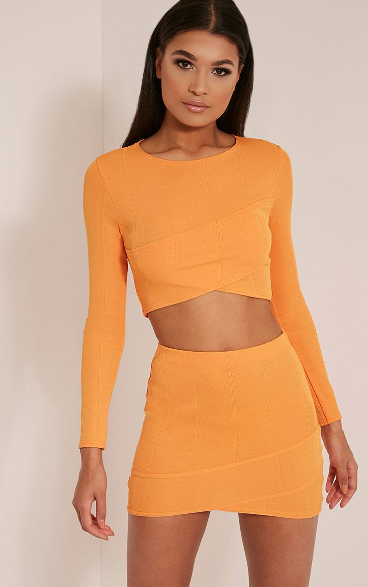 Alena Bright Orange Cross Front Bandage Mini Skirt Bright Orange
