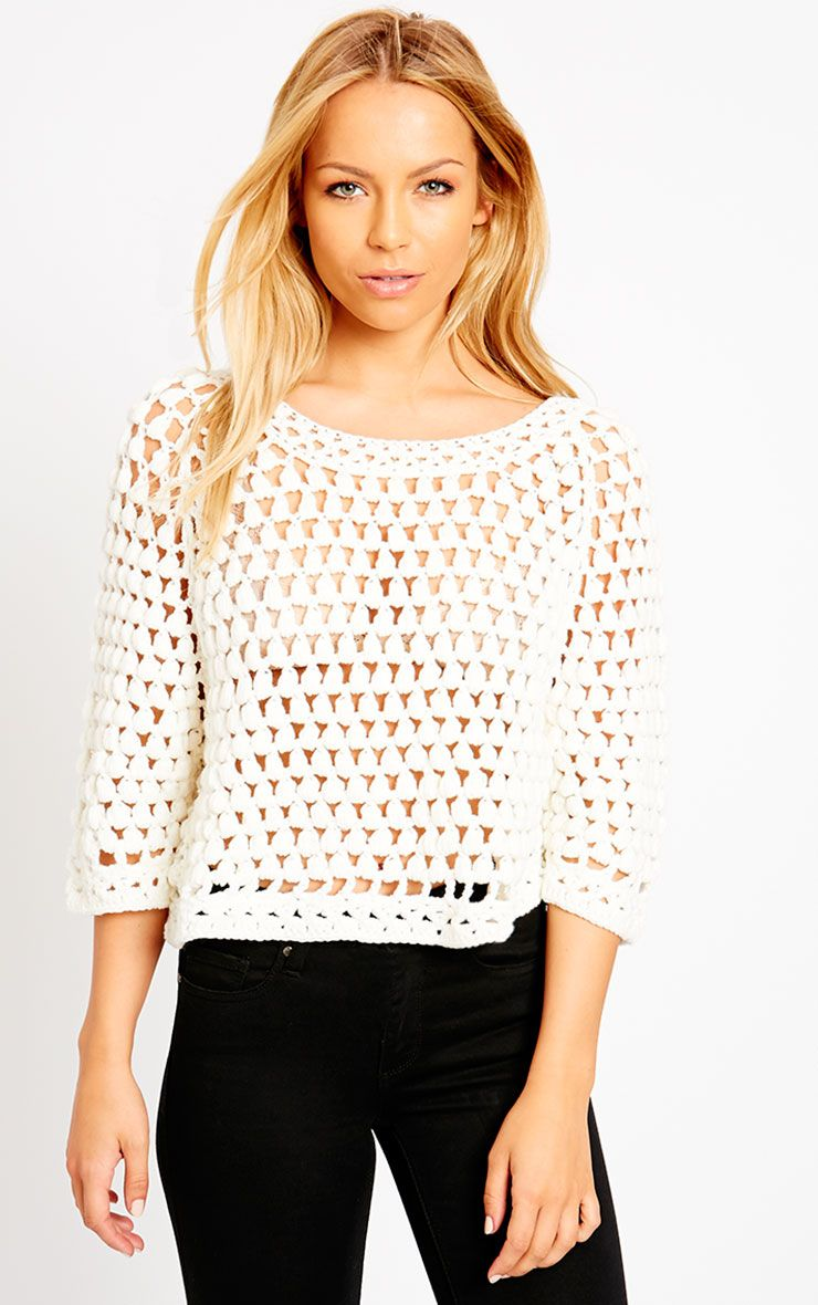 Lavinia Cream Cropped Knit Jumper  1