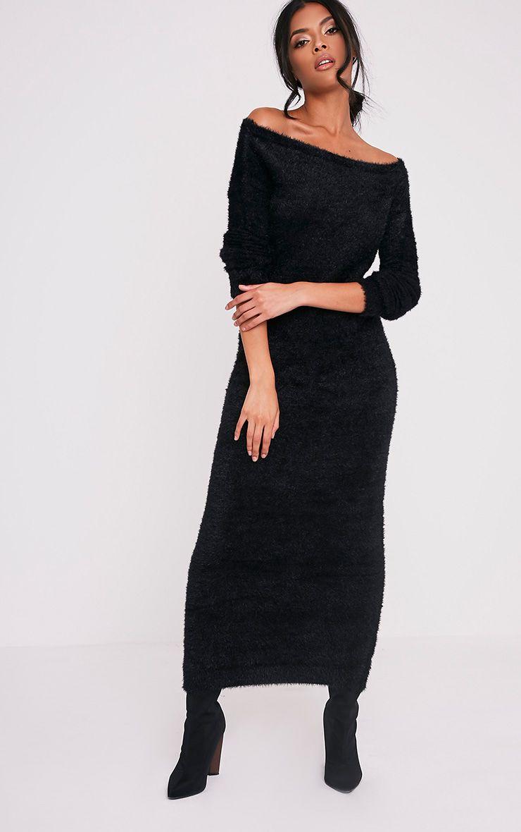 Idelle robe maxi en maille duveteuse noire 5