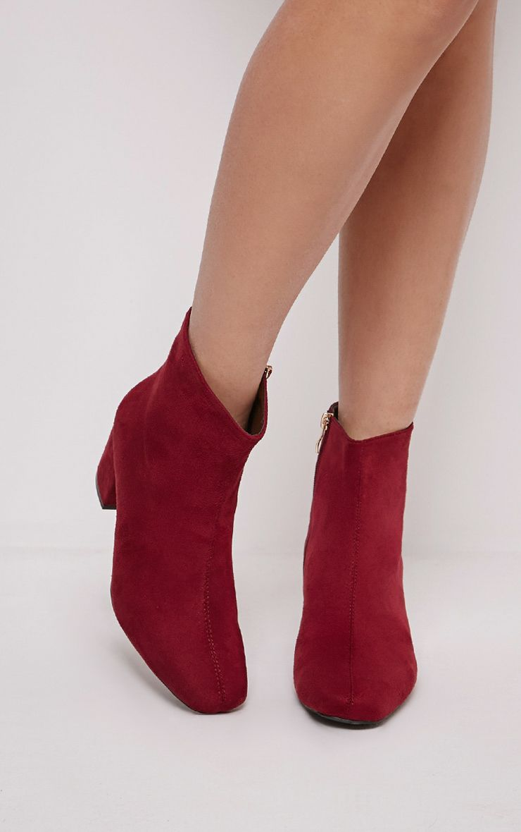 Kerah Burgundy Faux Suede Ankle Boots 1