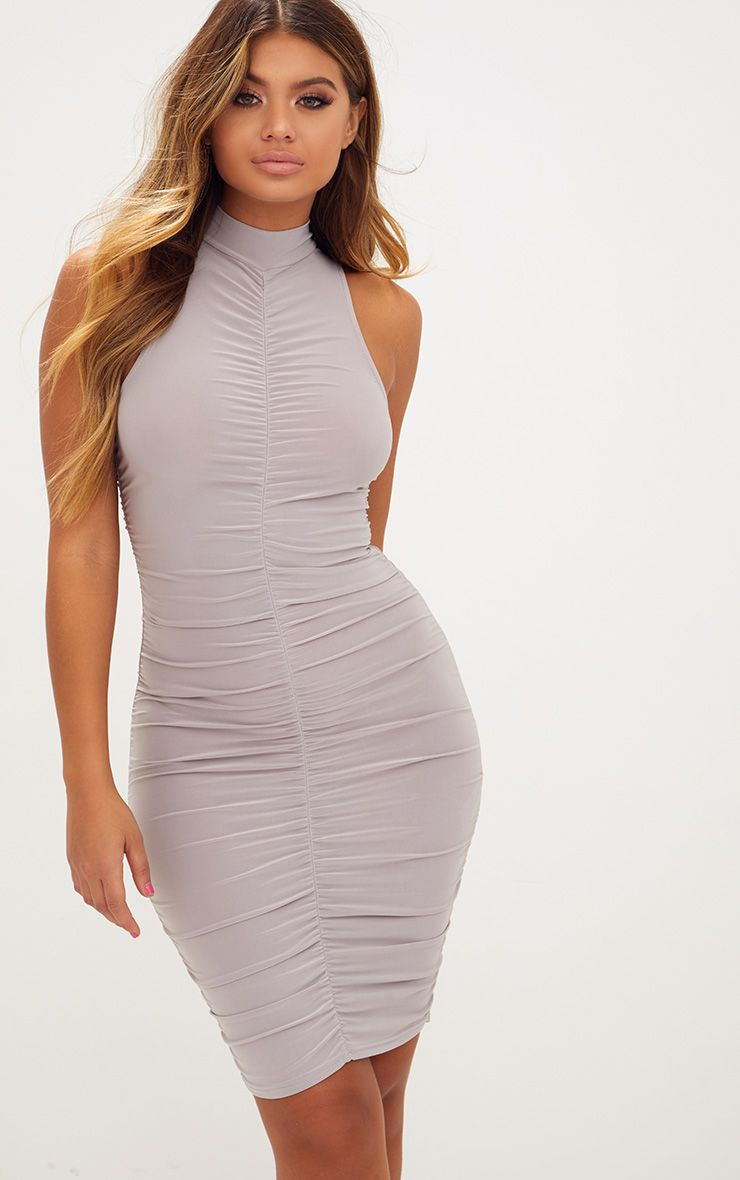 Ice Grey High Neck Sleeveless Ruched Slinky Bodycon Dress