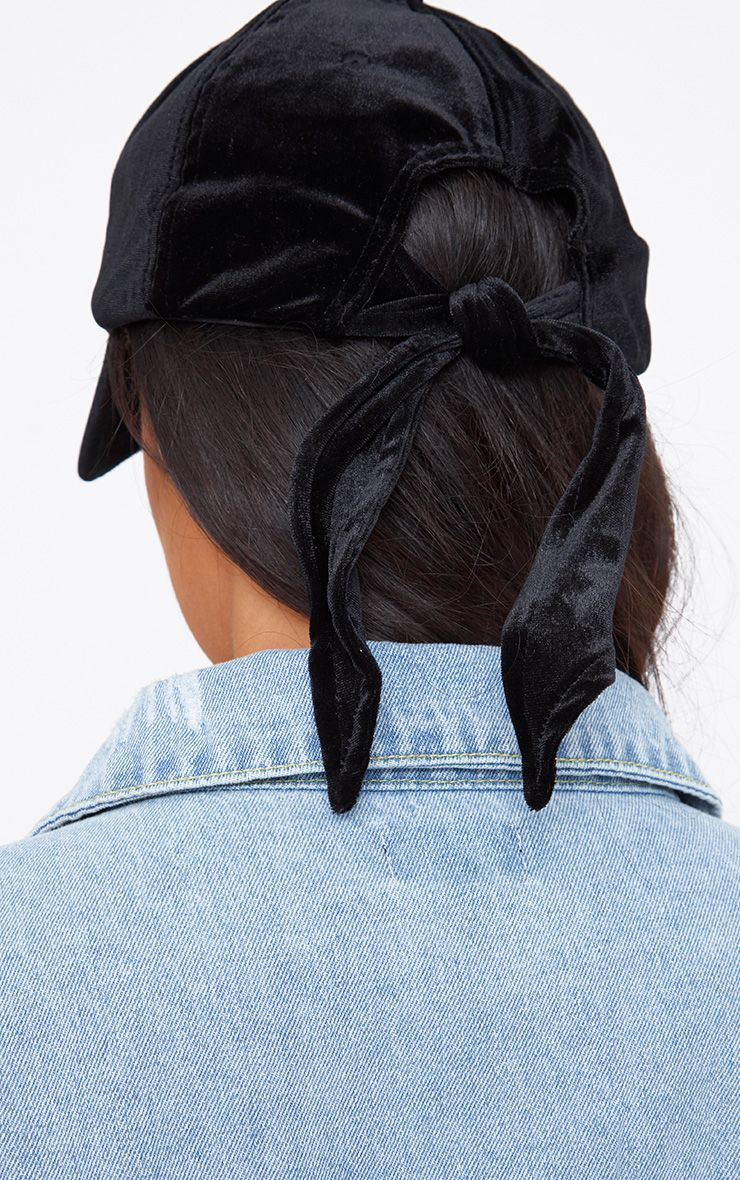 Black Velvet Bow Back Cap