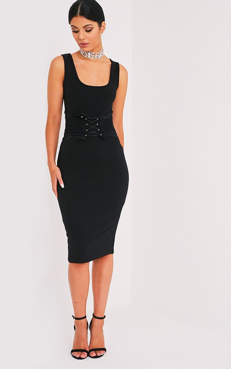 Katrina Black Corset Detail Square Neck Midi Dress