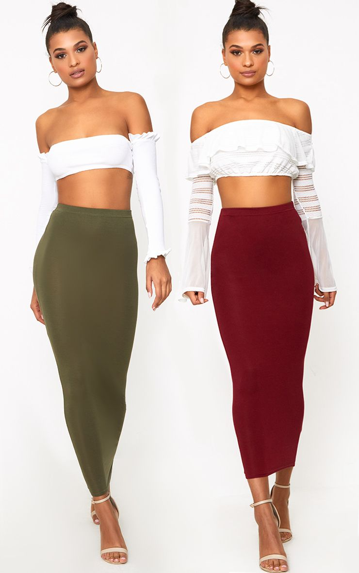 Basic Khaki & Burgundy Jersey Midaxi Skirt 2 Pack