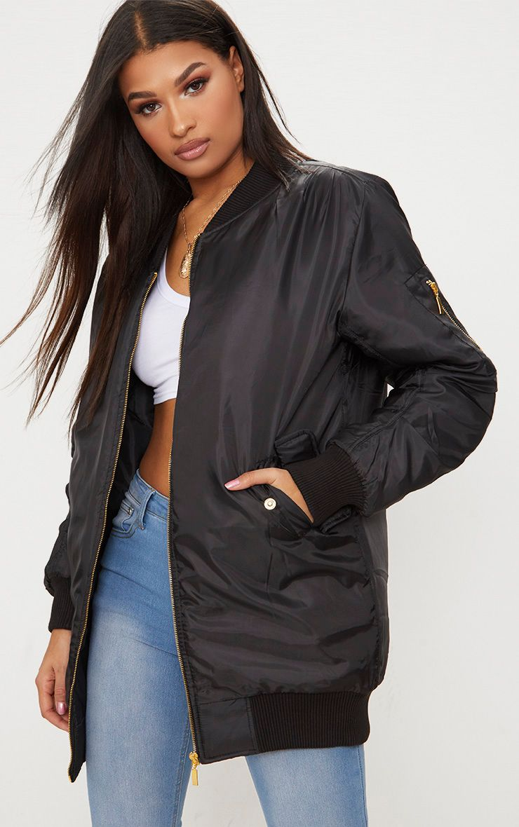 Shelbi Black Longline Bomber Jacket 1