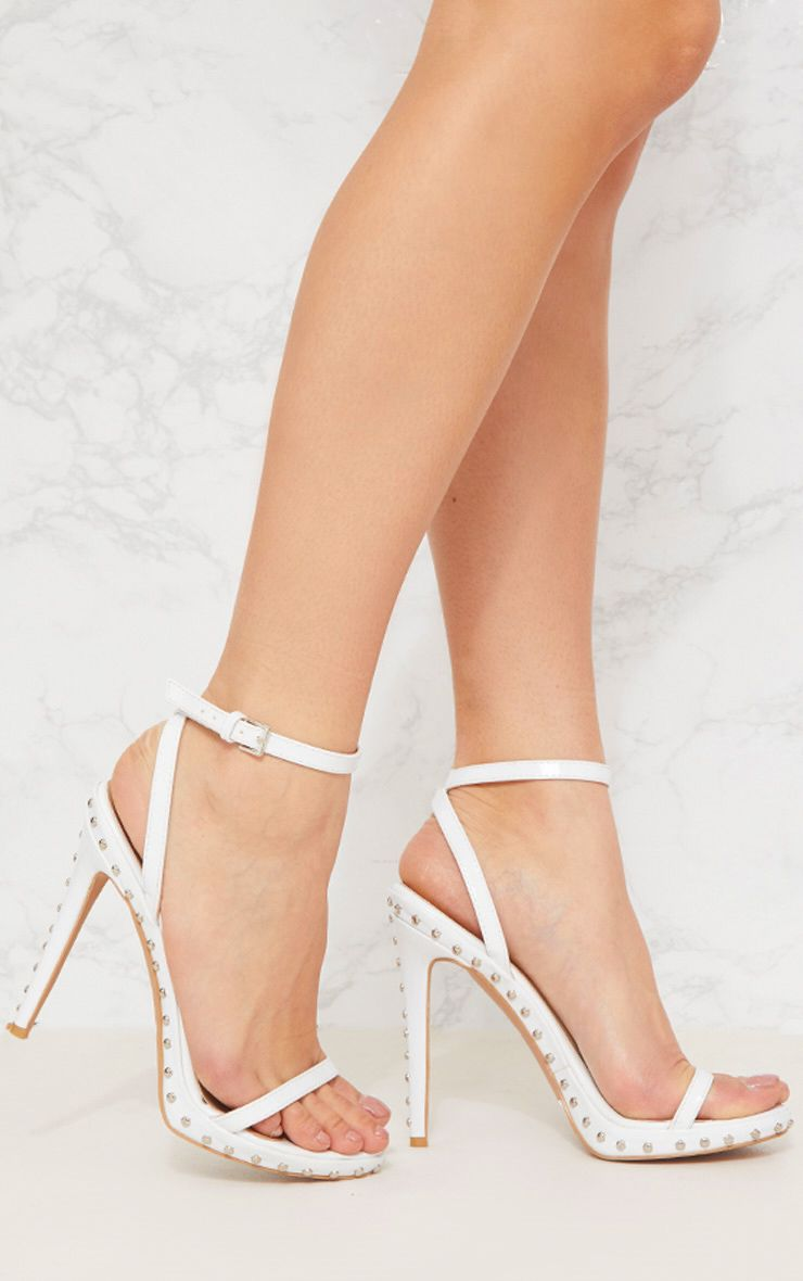 White Studded Detail Strappy Sandal