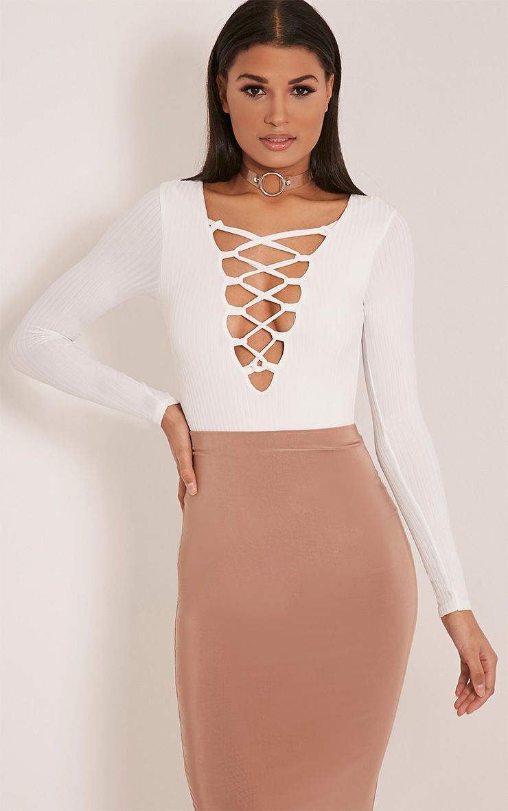 Baylee White Lace Up Ribbed Long Sleeve Bodysuit 1