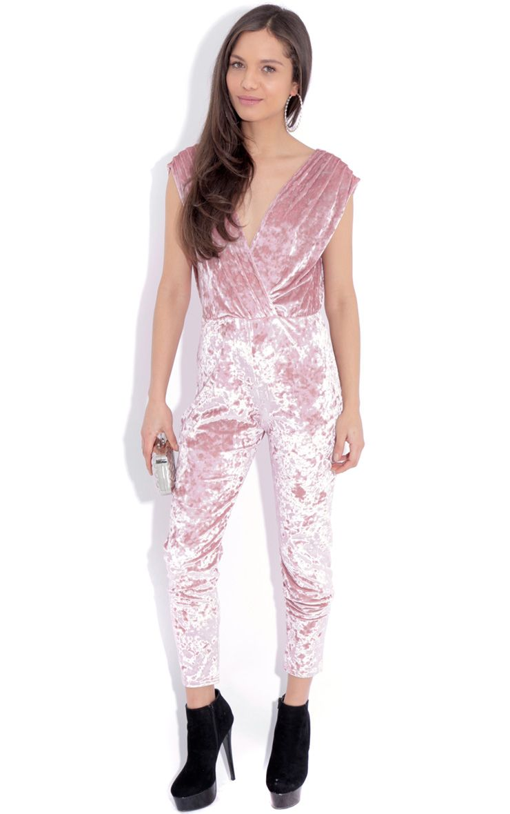 Kitty Pink Crushed Velvet Jumpsuit 1