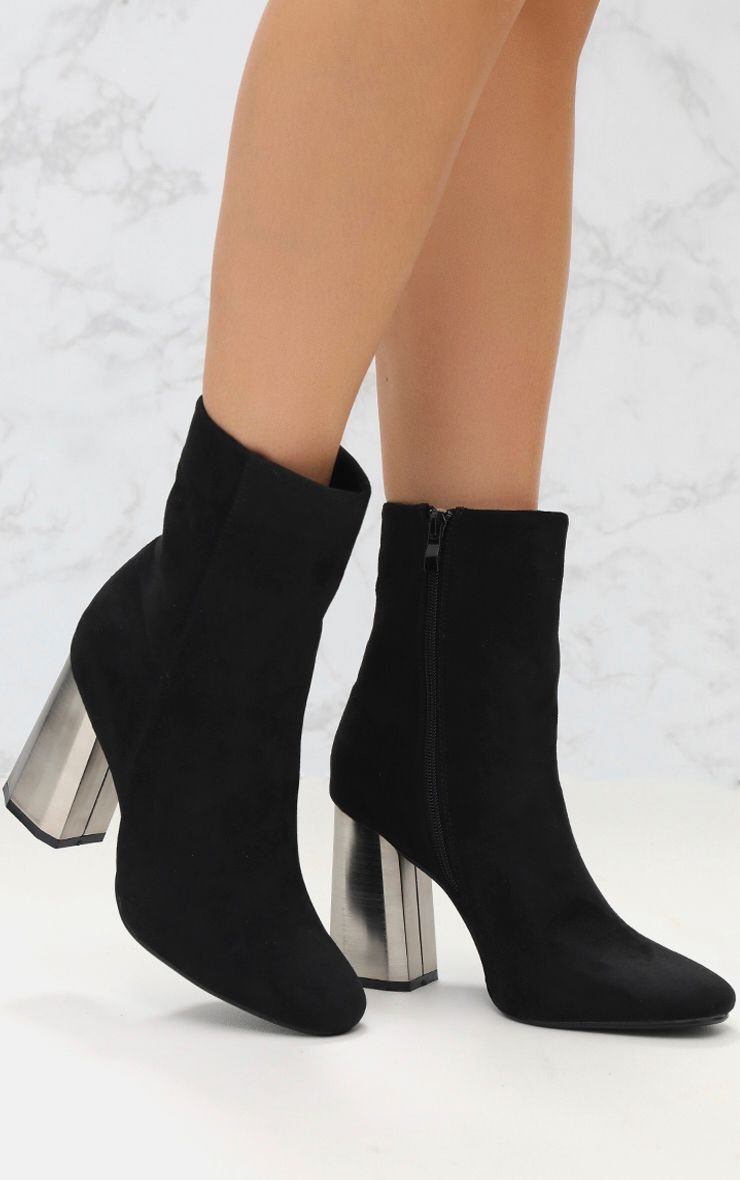 Black Feature Heel Ankle Boot