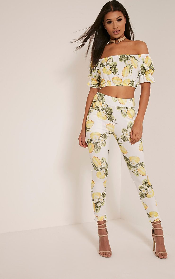 Farren White Lemon Print Cigarette Trousers