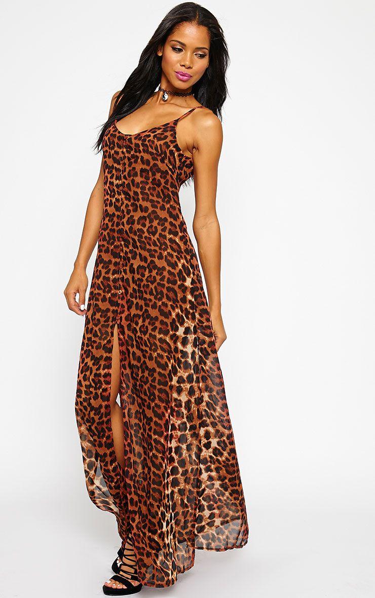Jamila Rust Leopard Button Front Maxi Dress 1