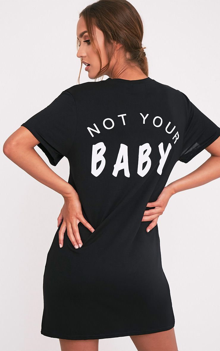 Not Your Baby Black T-Shirt Dress