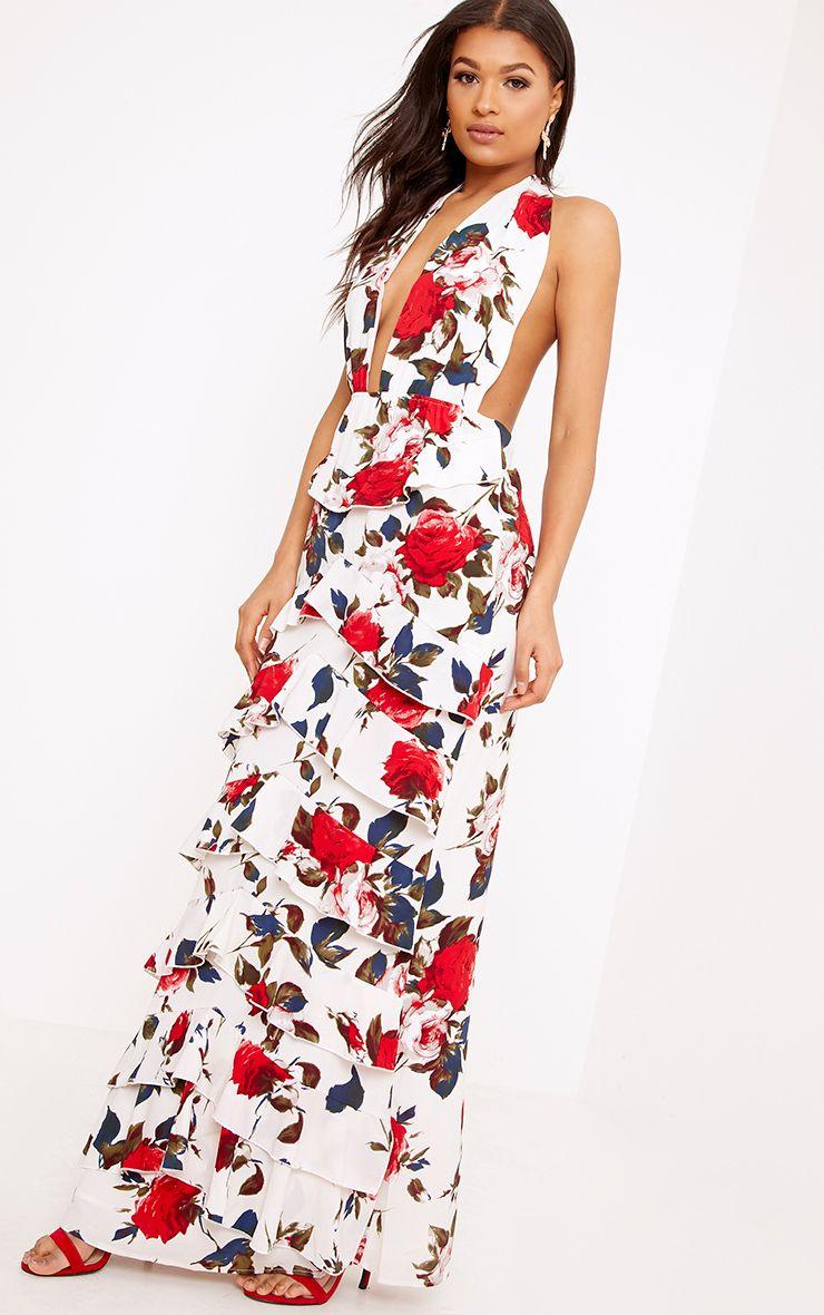 Sandrah Cream Floral Chiffon Frill Detail Maxi Dress