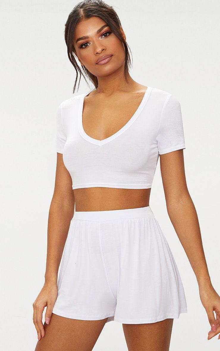 Lucilla White Jersey Floaty Shorts 1