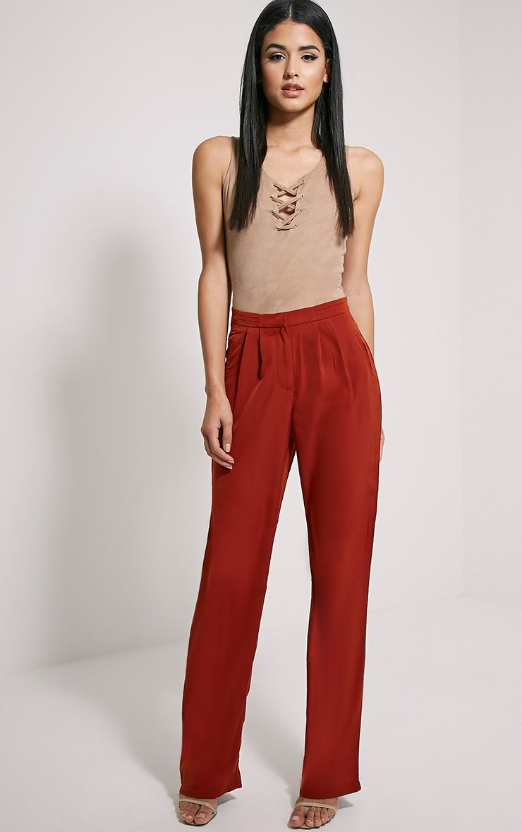 Olive Rust Loose Fit Trousers 1