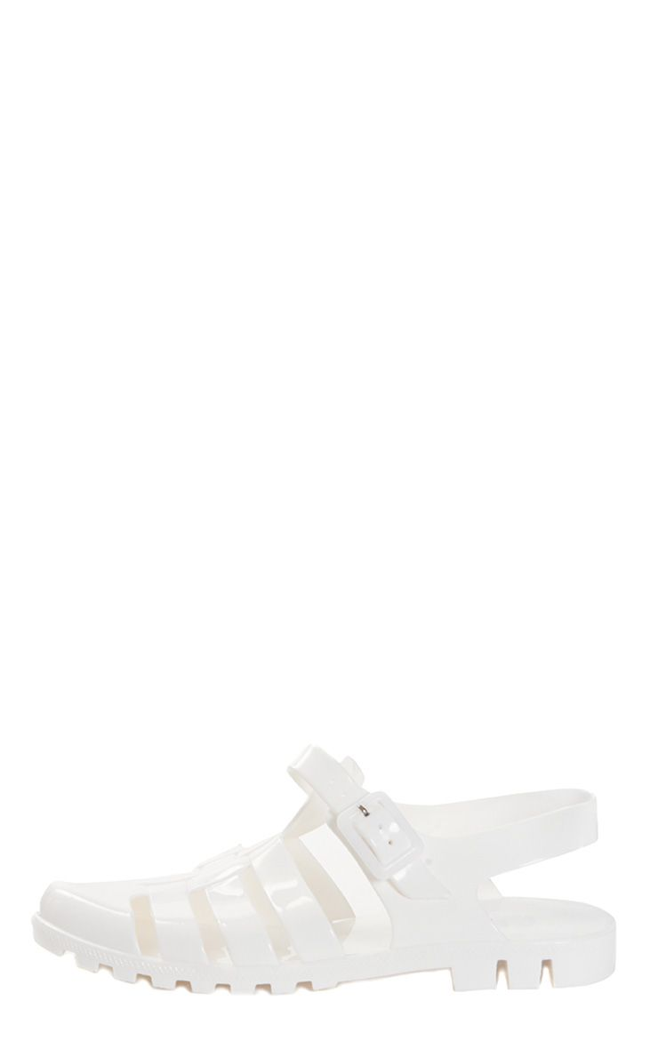 Raida White Flat Jelly Sandal  1