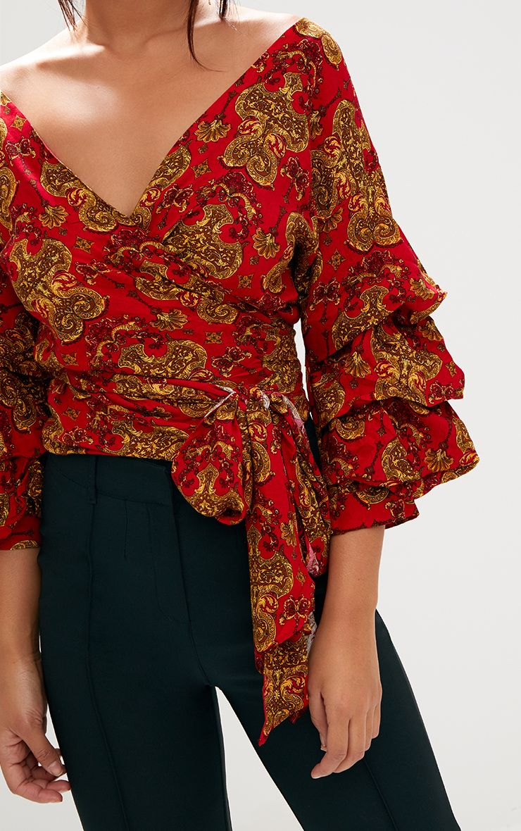 Red Chain Print Ruffle Sleeve Low Shoulder Shirt. Tops ... Cream Heels With Bow