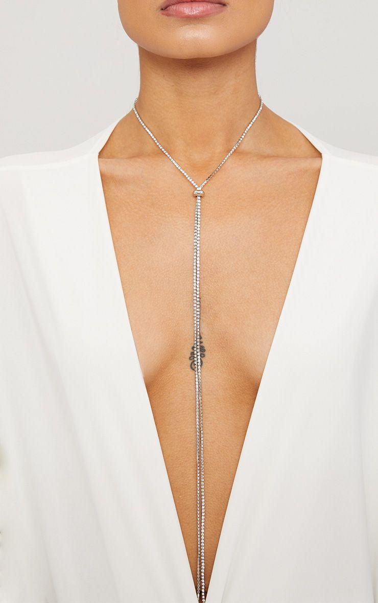 Silver Diamante Bolo Necklace