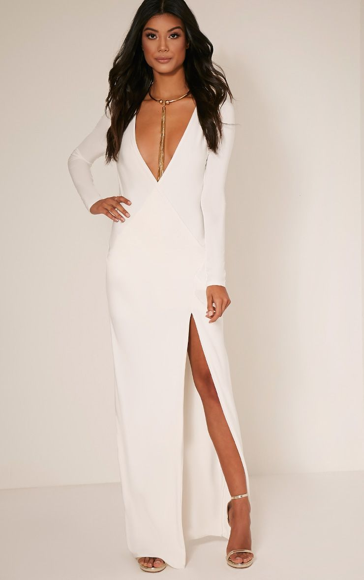 Aubreanna Cream Wrap Front Ruched Maxi Dress