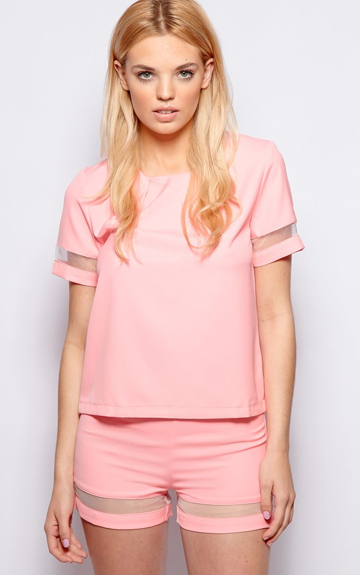 Ashley Pink Mesh Insert Chiffon Longline Top 1