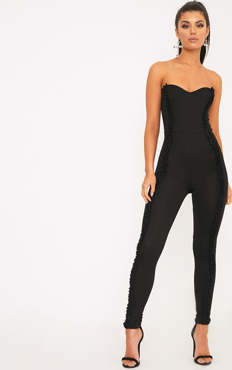 Jina Black Trim Bandeau Jumpsuit