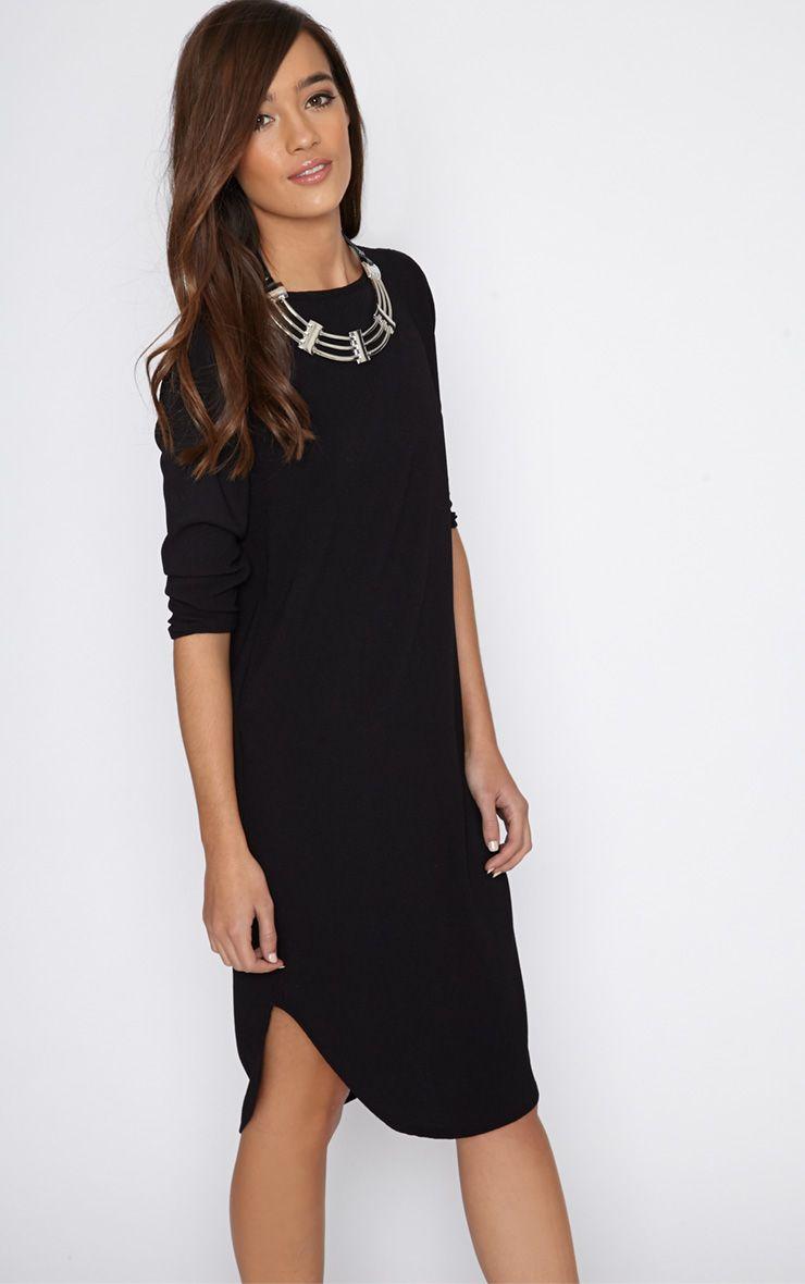 Camilla Black Crepe Shift Dress 1