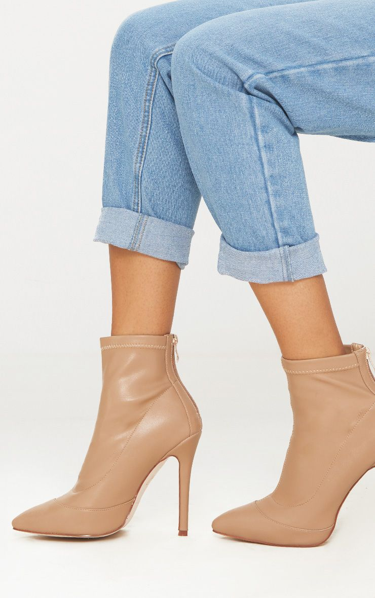PRETTYLITTLETHING Warm PU Pointed Ankle Sock Boot 4o7QDKJT