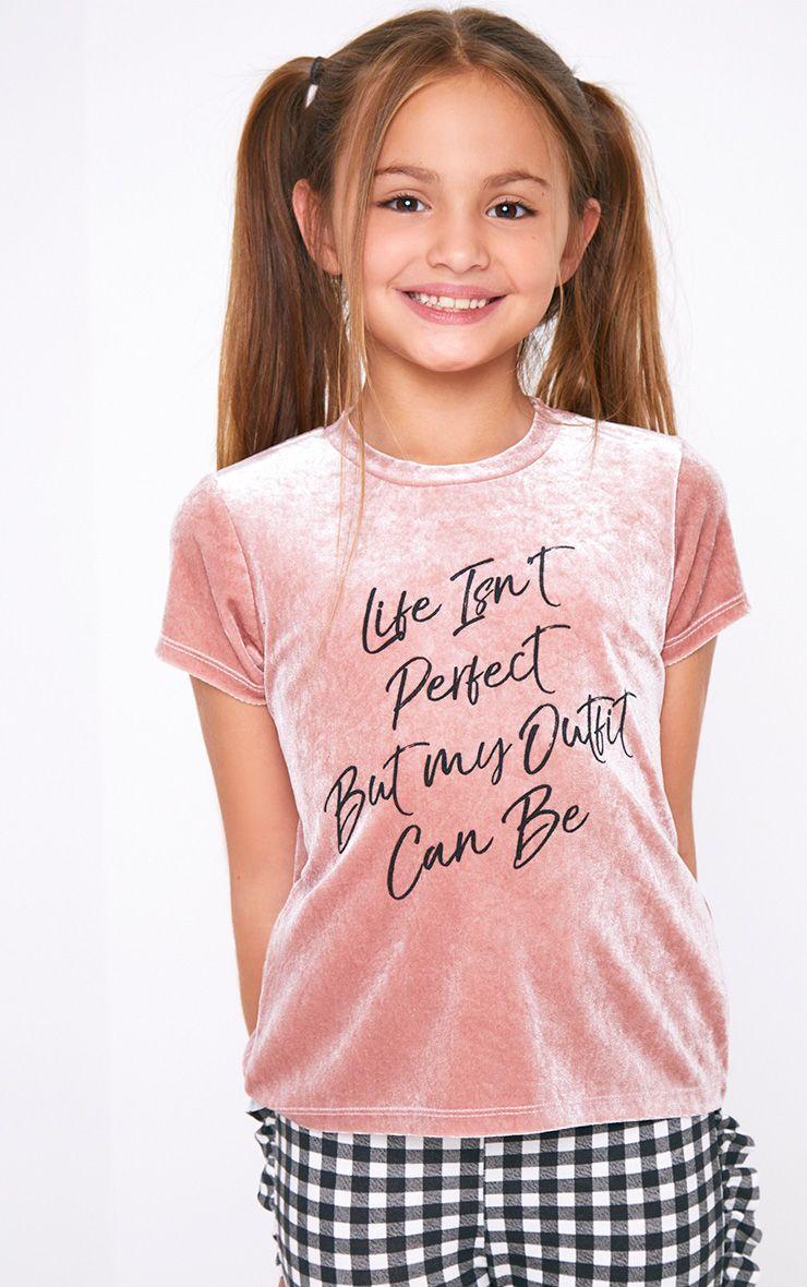 Velvet Printed Pink T Shirt