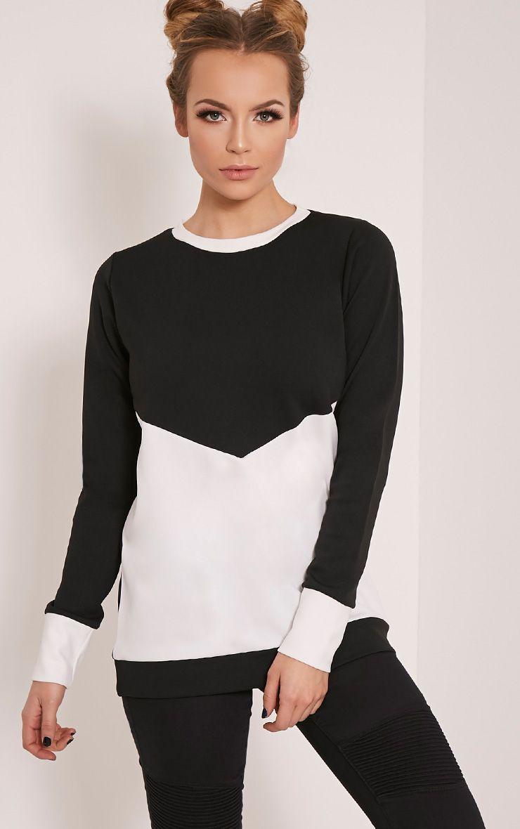Madalene Black Contrast Panel Sweatshirt 1