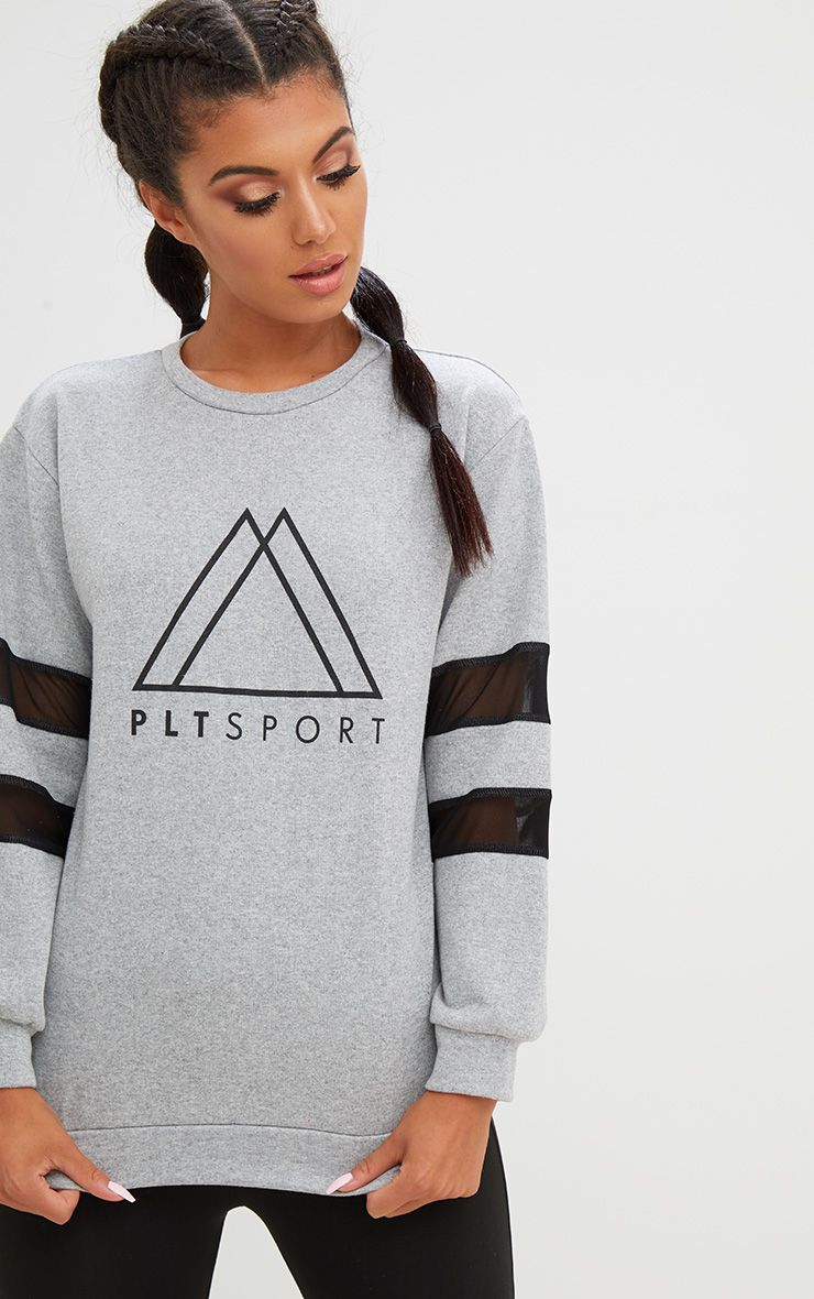PLT Grey Sport Loop Back Mesh Insert Sweatshirt