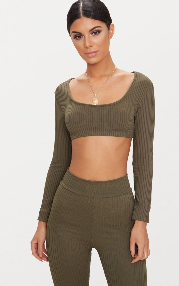 Basic Khaki Rib Longsleeve Crop Top