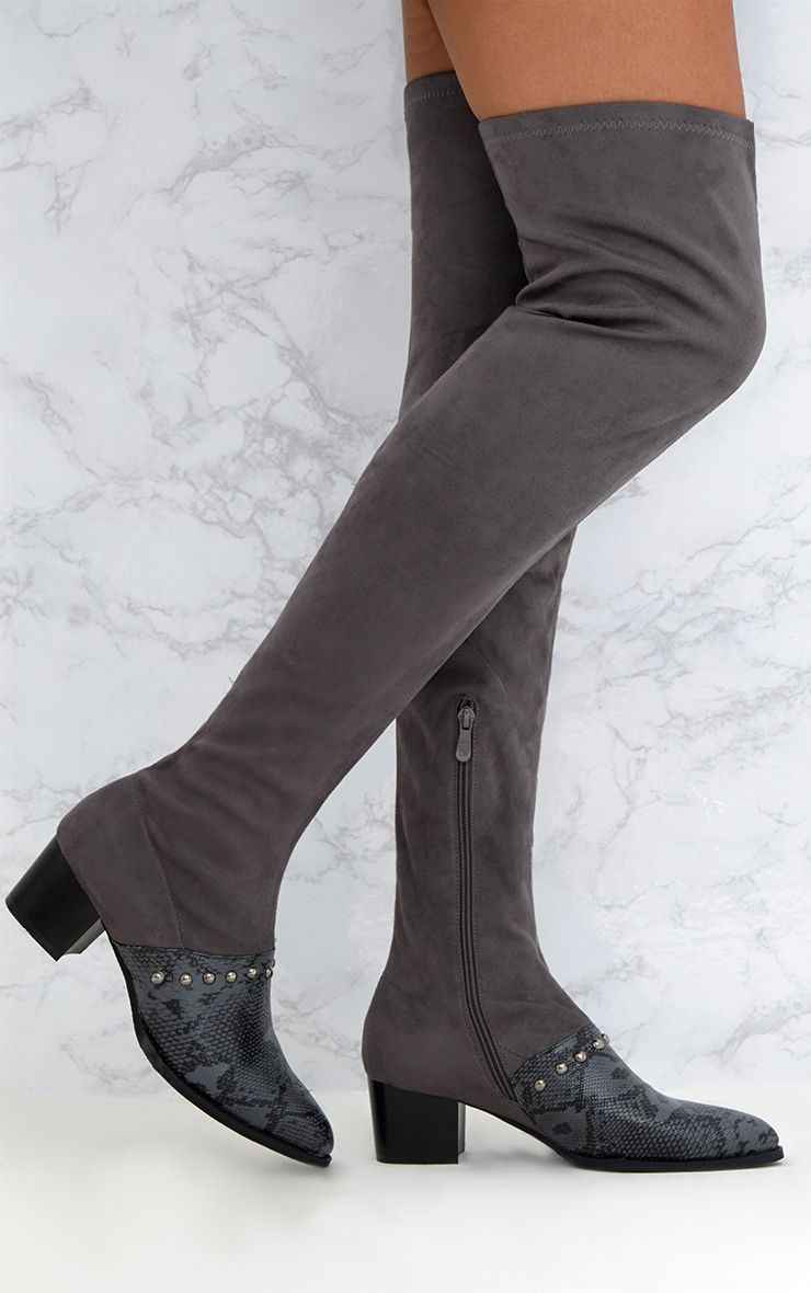 Grey Studded Contrast PU Over The Knee Boots