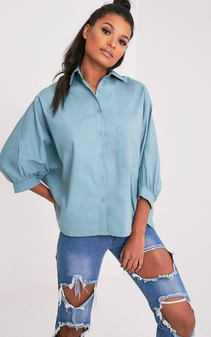 Ariane Petrol Blue Batwing Shirt 1