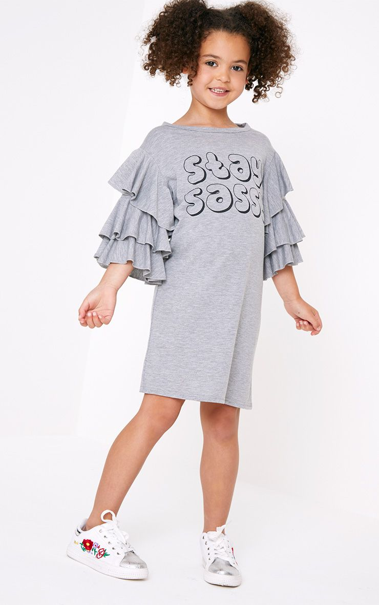 Stay Sassy Ruffle Sleeve Grey T Shirt Dress