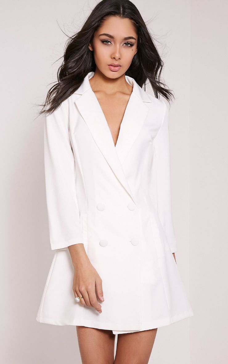 Tobyn Cream Double Breasted Blazer Dress 1