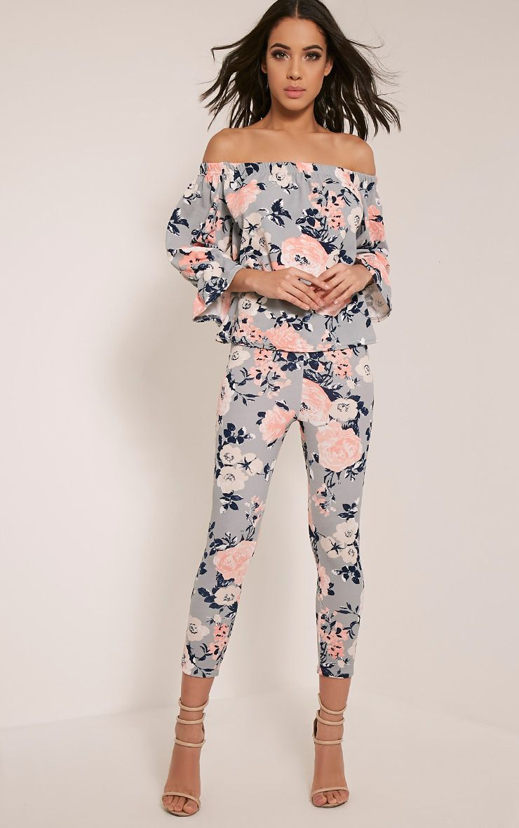 Natillia Dusty Blue Floral Cropped Trousers