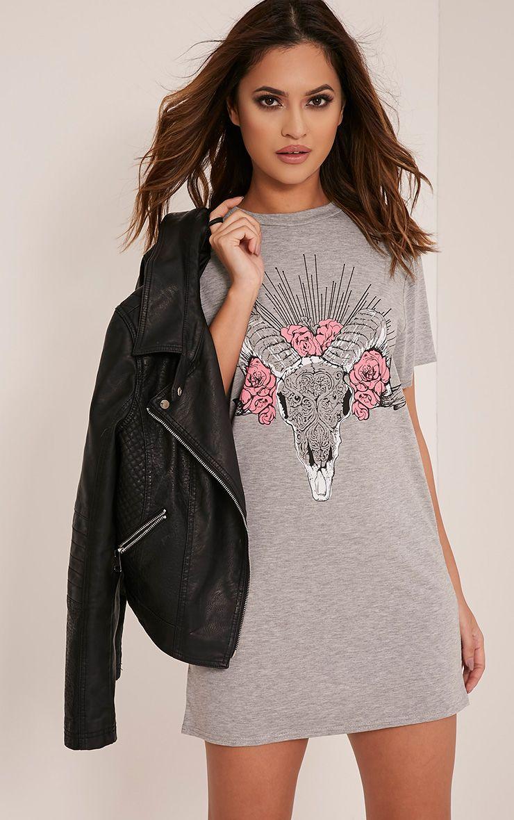 Petite Ram Skull Flower Print Grey Marl T Shirt Dress 1