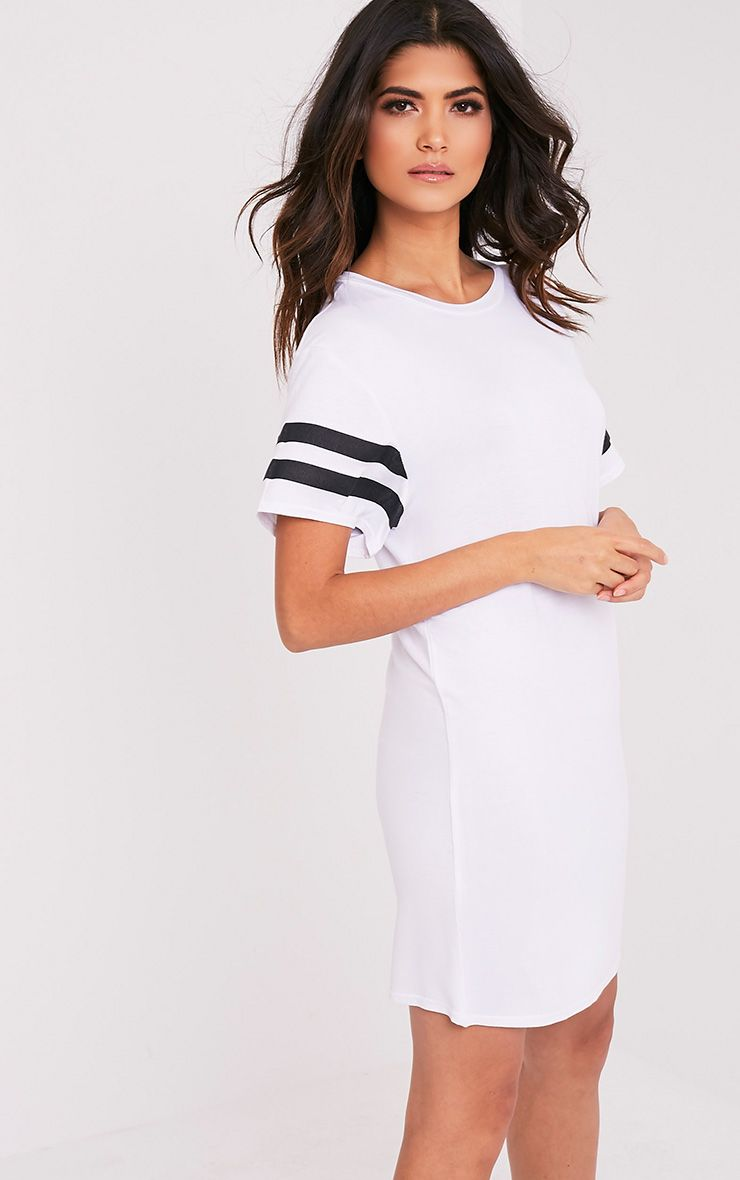 Neekha White Striped Sleeve T-Shirt Dress 1