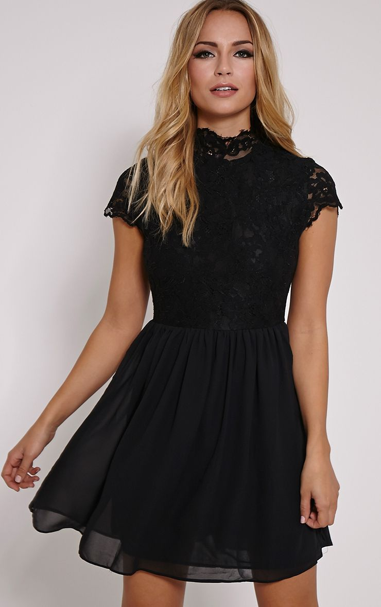 Ella Black High Neck Lace Skater Dress