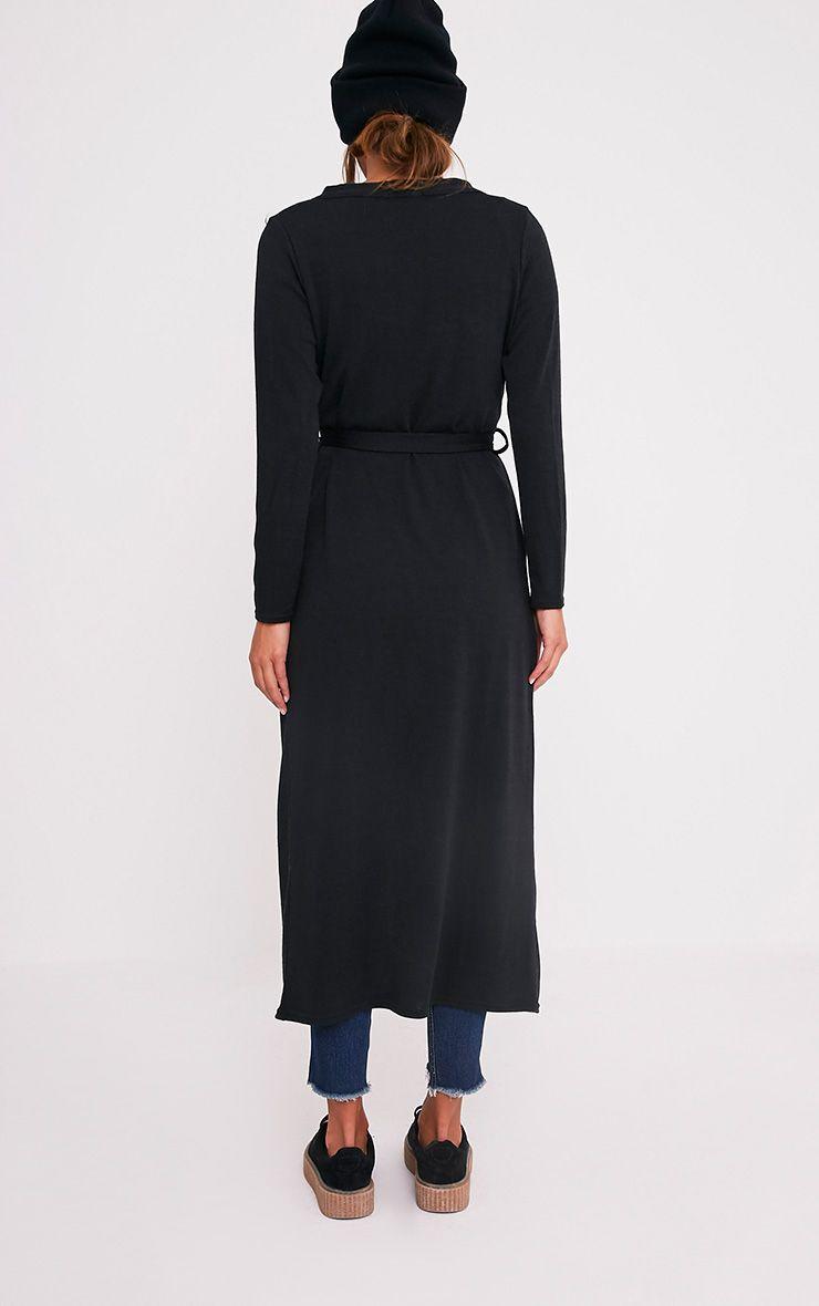Liona cardigan maxi avec ceinture noir 2