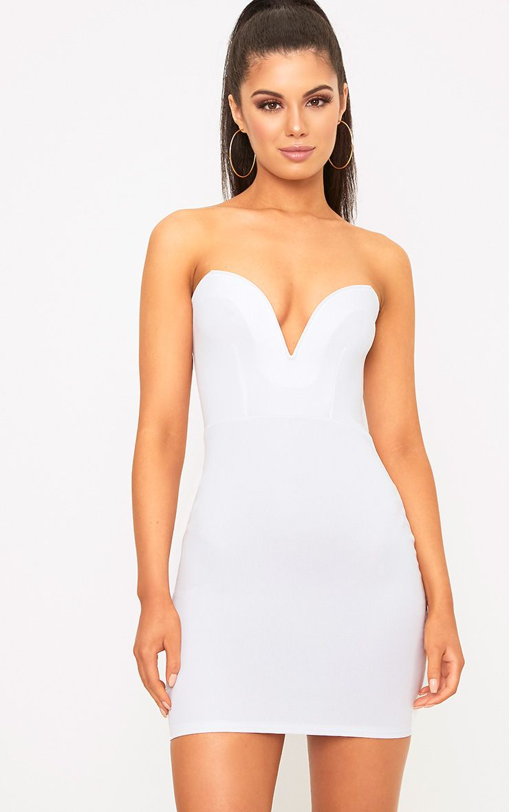 White Bandeau Bodycon Dress