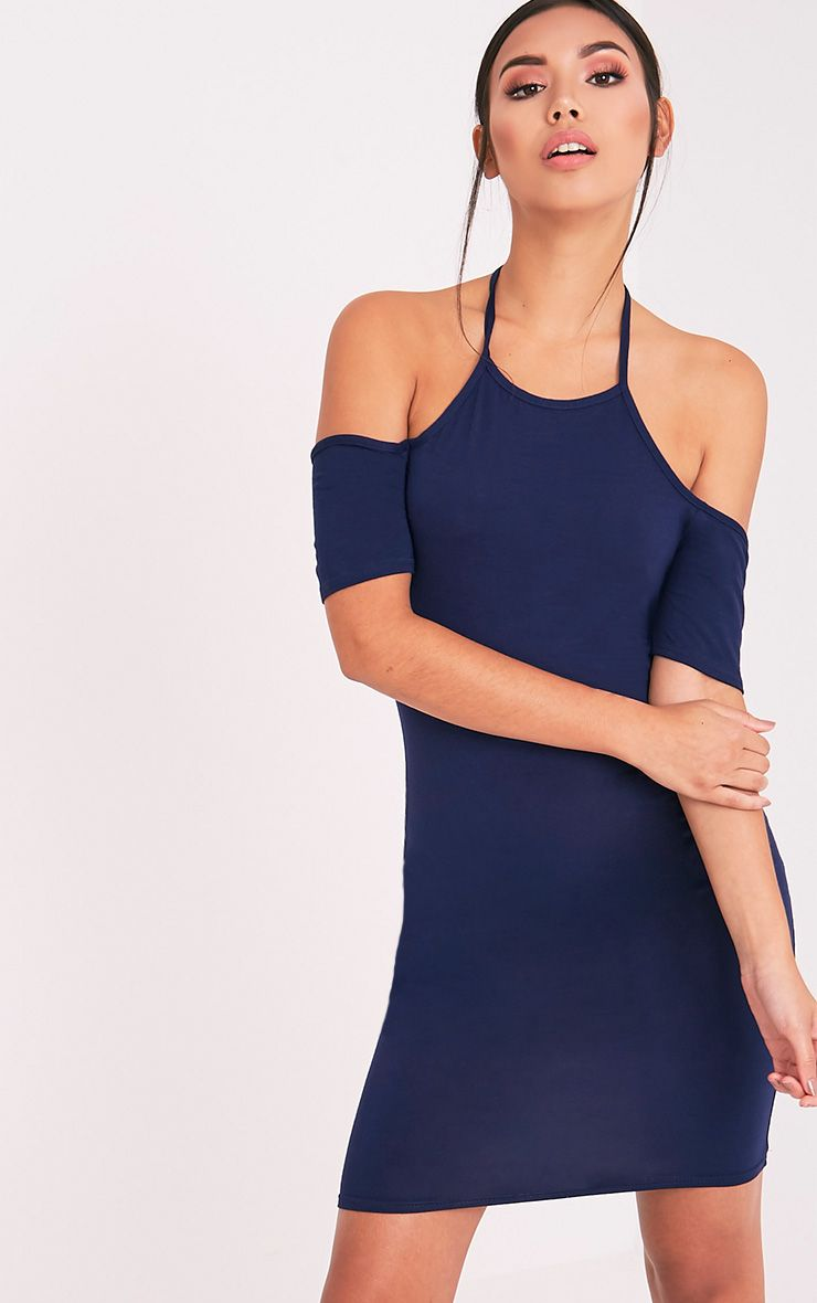 Amara Navy Tie Neck Cold Shoulder Bodycon Dress