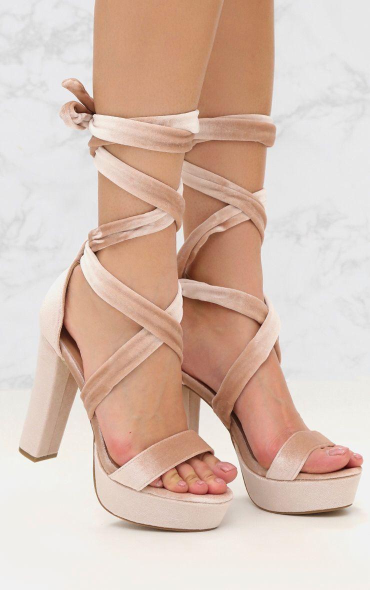 Nude Wrap Tie Faux Suede Block Heel Sandal