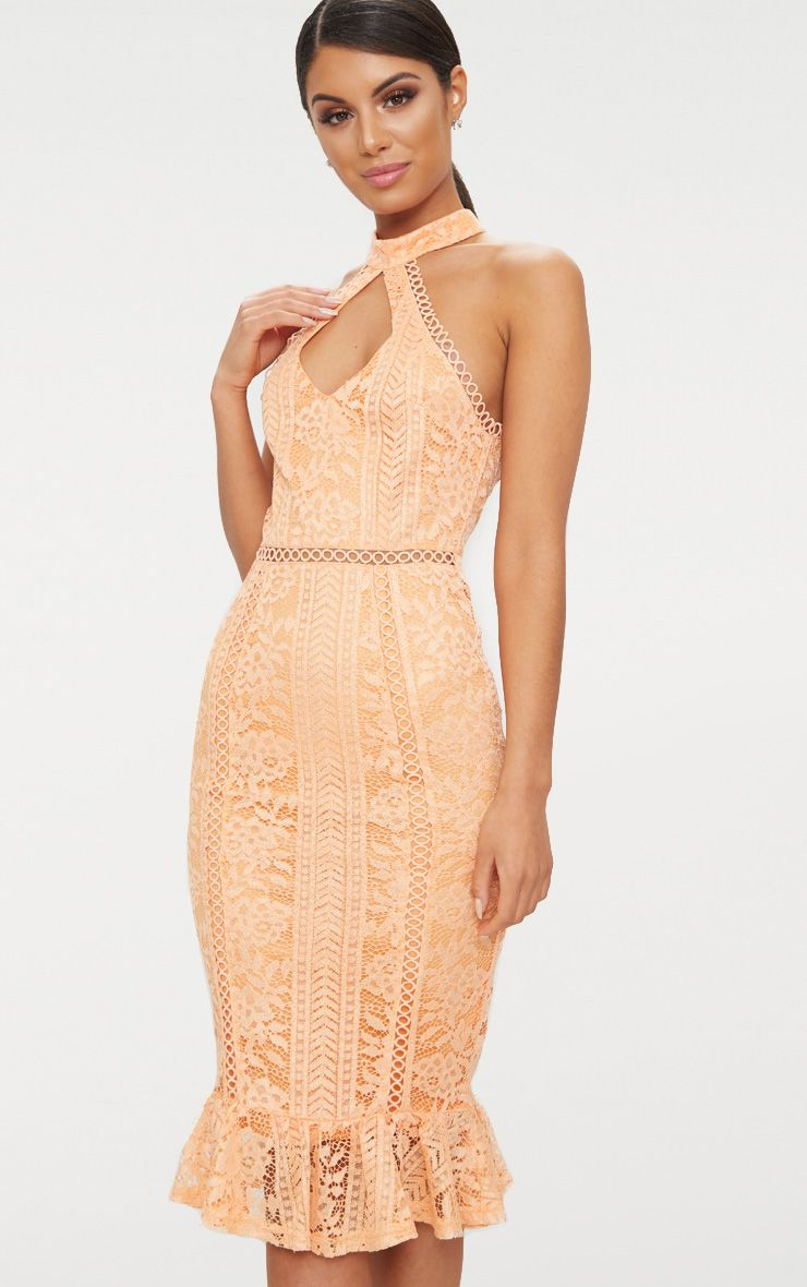 Tangerine Lace Cut Out Frill Detail Midi Dress