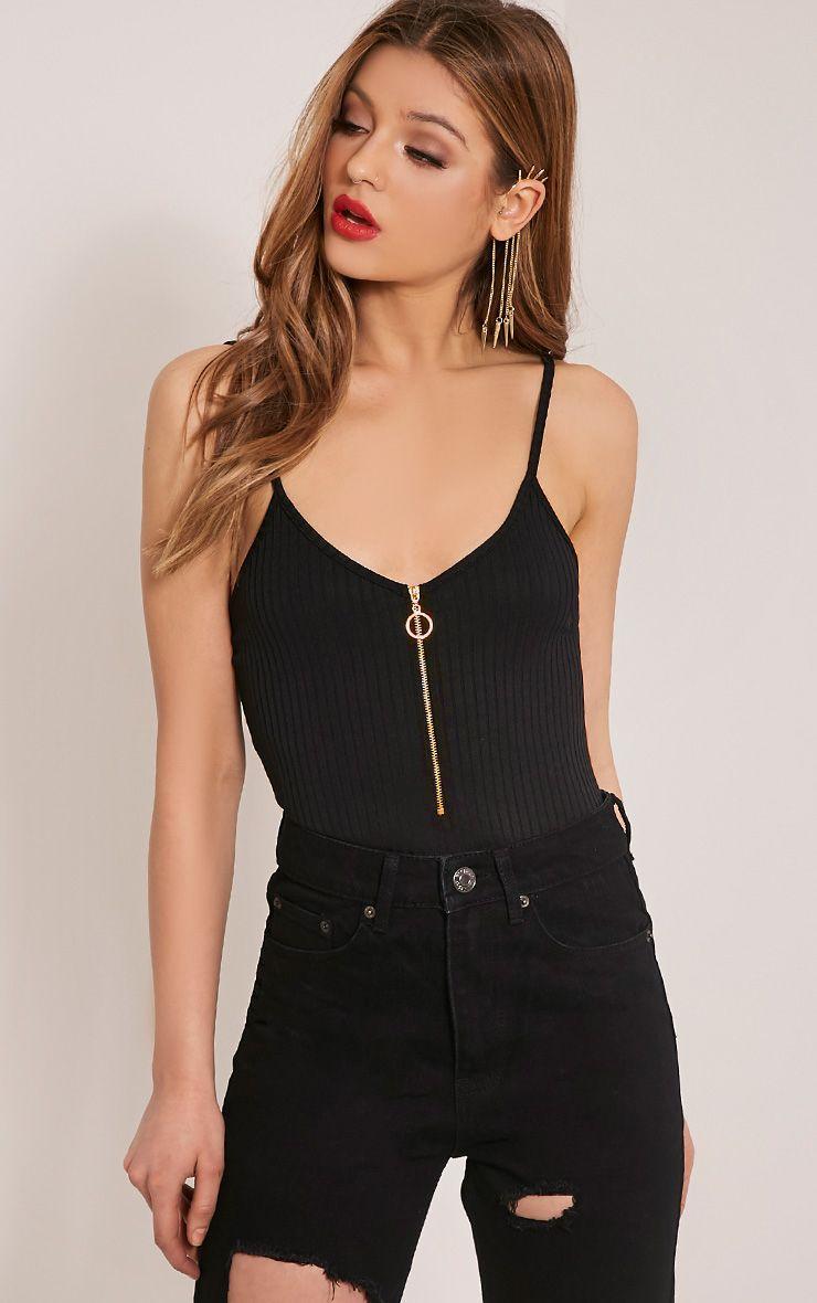 Sally Black Ribbed Zip Front Bodysuit 1