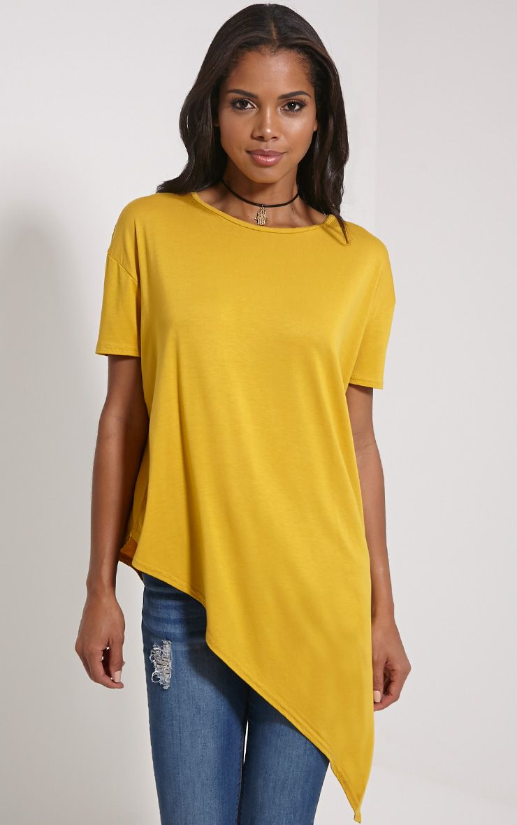 Amore Mustard Asymmetric Hem T-Shirt 1